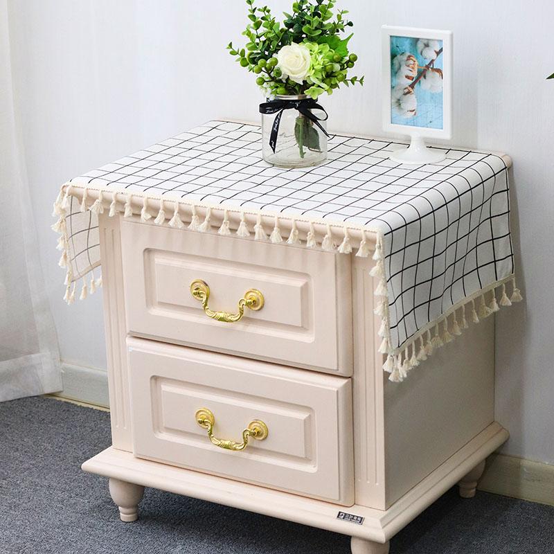 北欧床头柜盖巾棉麻电视柜布盖布防尘罩桌布布艺长方形鞋柜布格子