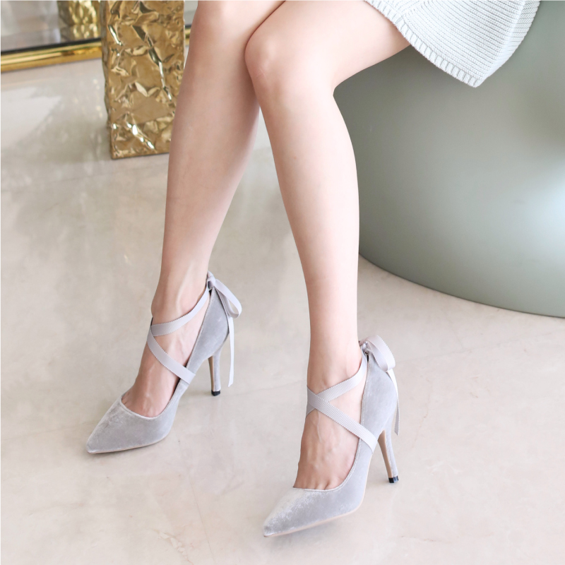 Greasy ninishare strap ballet velvet pointed fine with high heels shoes 2018 new shoes