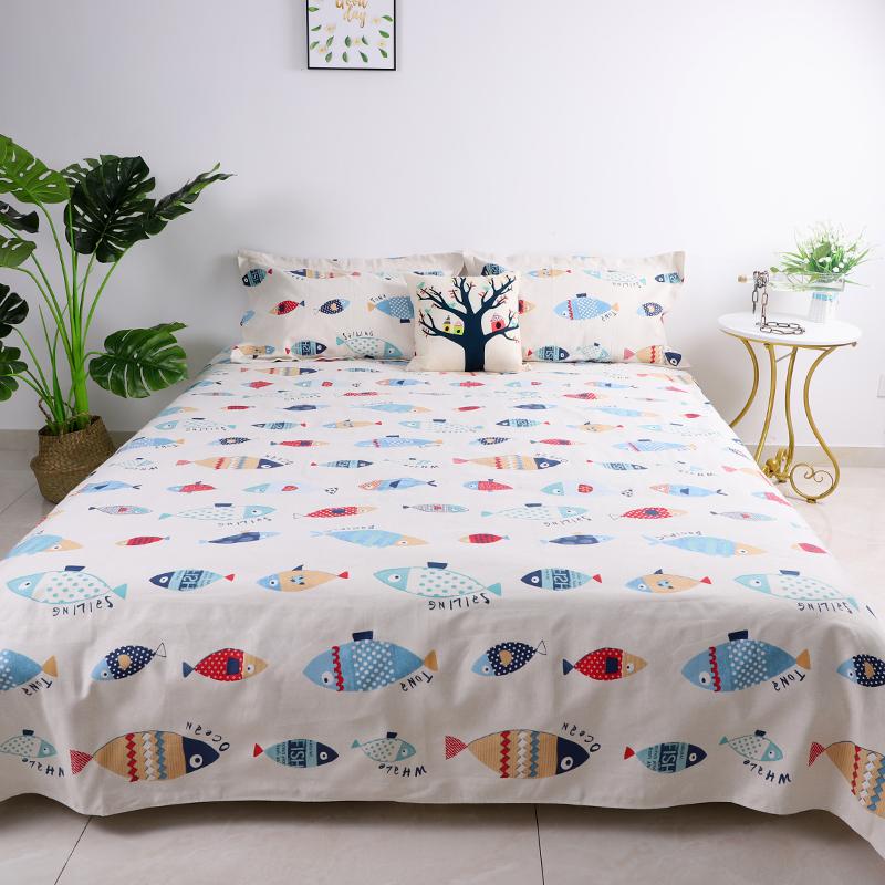 纯棉老粗布床单不起球全棉枕套2件套