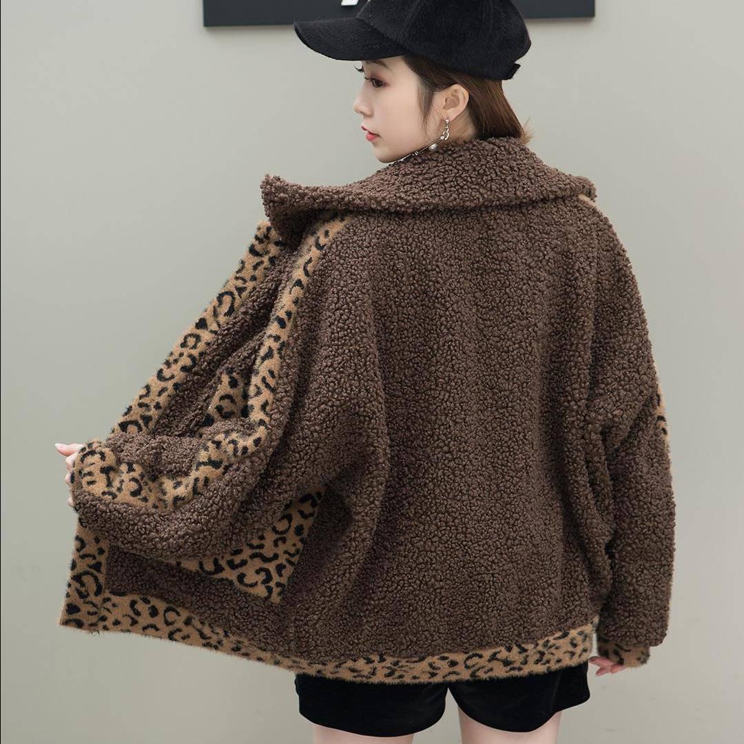 上衣皮毛毛羊羔水貂豹纹绒一体女宽松加厚外套袖秋冬季仿貂绒蝙蝠