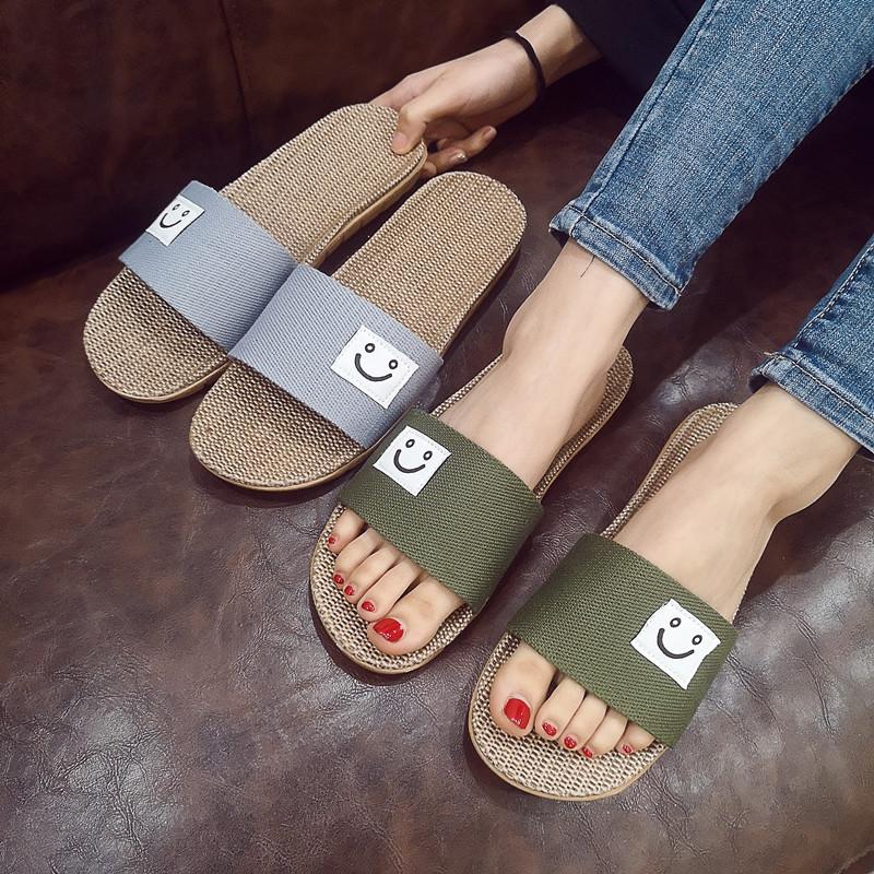 日式家居家男女款夏季亚麻拖鞋厚底卡通笑脸情侣凉拖鞋鞋户外