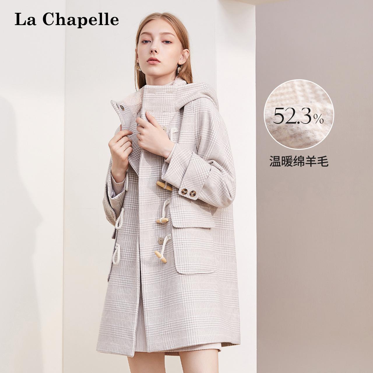 La Chapelle 2019 áo choàng dài giữa mùa đông phiên bản Hàn Quốc của chiếc mũ trùm đầu có khóa áo len nữ 10021673 - Áo khoác ngắn