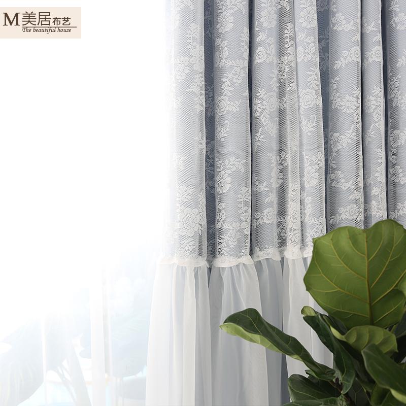韩式田园公主女孩卧室小清新绣花窗帘蕾丝窗纱成品定制全遮光特价