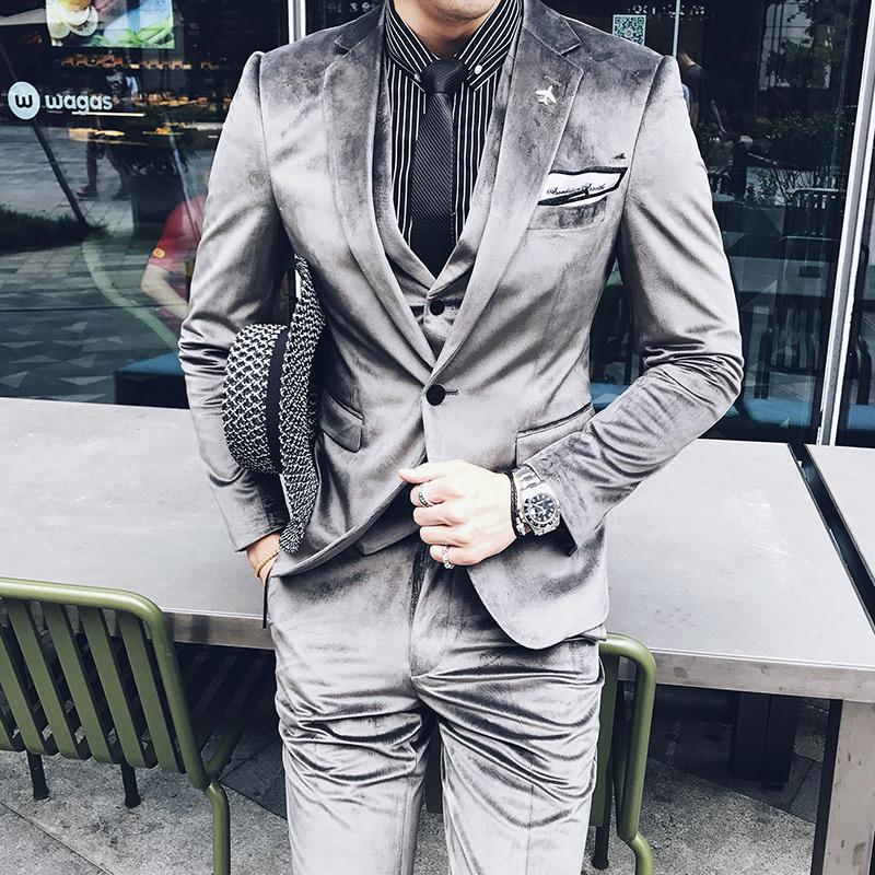 18 autumn new no iron velvet bridegroom dress suit mens slim suit vest pants three piece set