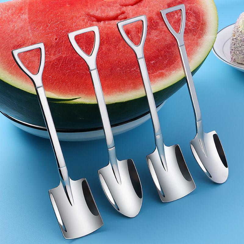 铁锹勺子家用复古创意甜品可爱儿童勺吃西瓜专用可爱铲子汤匙HG