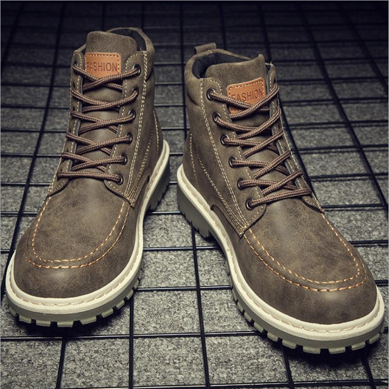 秋季马丁靴男防水防滑高帮学生冬季男靴子英伦男鞋工作鞋皮靴军靴