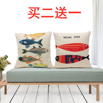 Nordic minimalist living room sofa pillow cushion back office fish pattern linen pillowcase square pillow