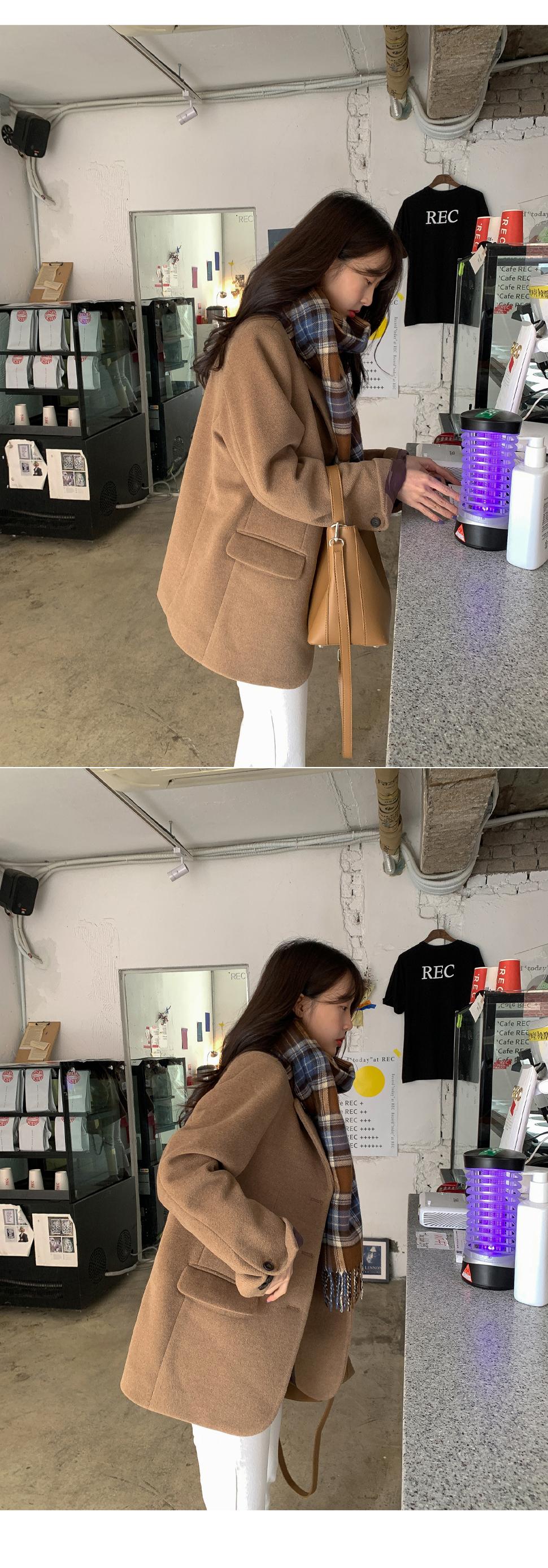 小C韓國女裝chic秋冬小眾翻領三粒扣寬松休閒百搭口袋長袖夾棉西裝外套女