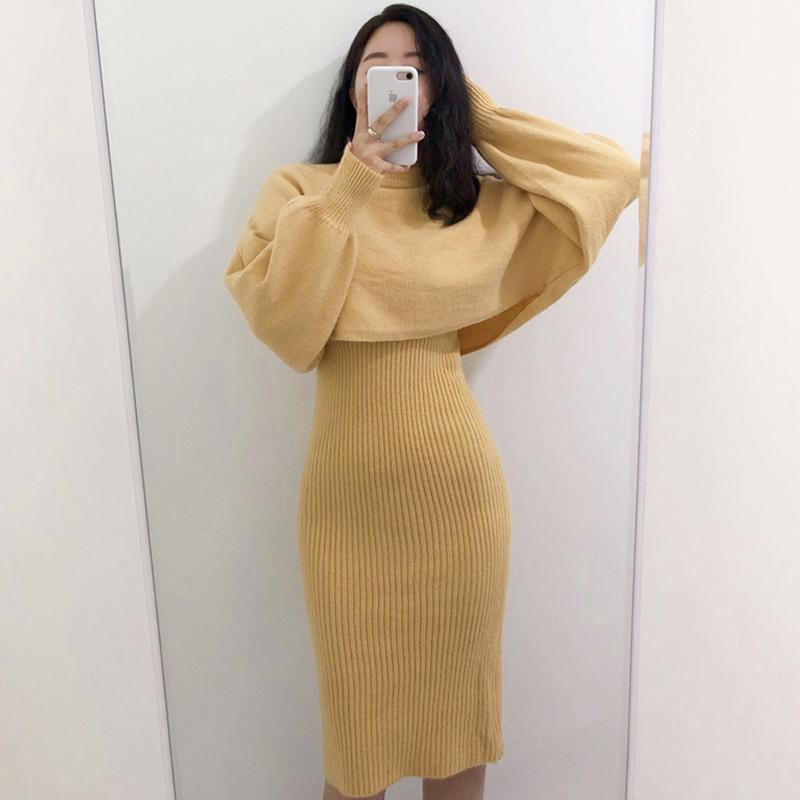 Корея chic западный стиль элегантный водолазка свитер свитер + slim синий цвет фигура яма статья строп платье женщина 607098325027