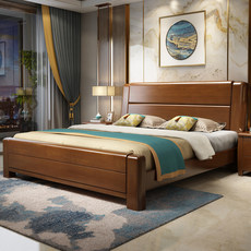 All solid wood bed 1.8 m 1.5 Chinese modern minimalist high box storage bed double bed master bedroom bed factory direct