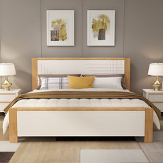 Solid wood bed double bed high box storage bed simple modern Chinese style 1.8 m 1.5m economy Nordic master bed