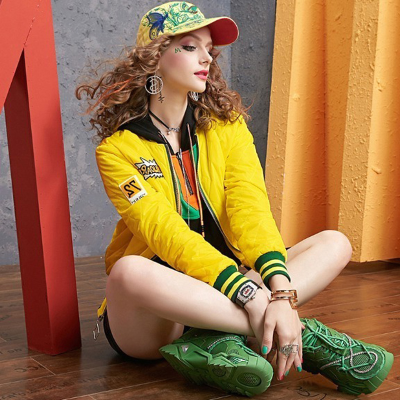 Autumn and winter long-sleeved short coat women's European station 2020 new color-collage baseball uniform hundred tie collar clip cotton clothing tide 11 Online shopping Bangladesh