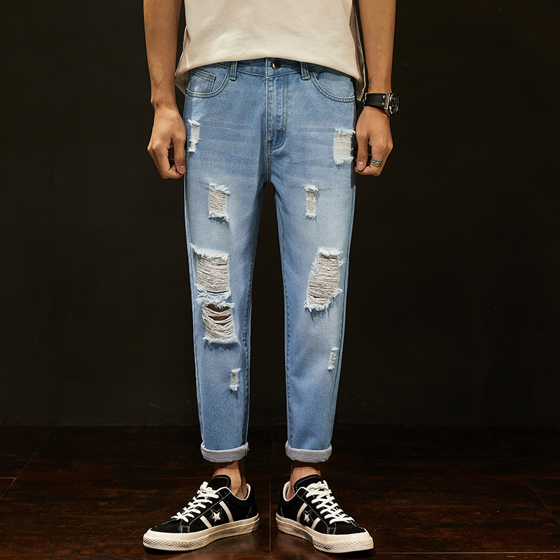 Men's Cropped Ripped Jeans Popular Brand Slim Feet Loose Straight Versatile 9 Points Pants Male Korean Version of the Trend