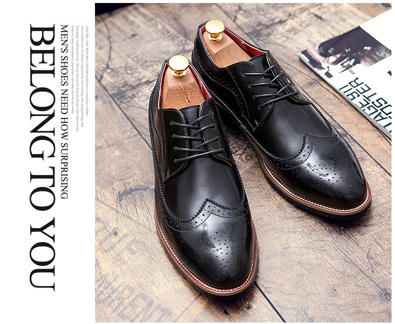 pinsv mens formal shoes brogue casual leather shoes black