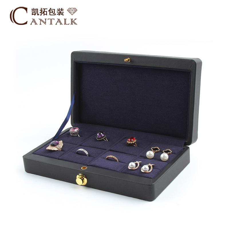 Đơn giản cao cấp phong cách châu Âu da xách tay thời trang 8-bit trang sức hộp lưu trữ hộp bông tai nhẫn hộp trang sức - Nhẫn