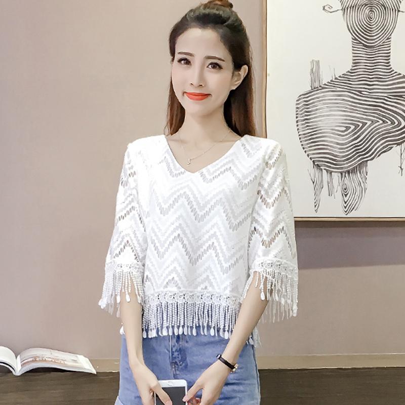 夏季新款韩版女装流苏镂空短袖蕾丝衫宽松显瘦百搭V领打底衫上衣
