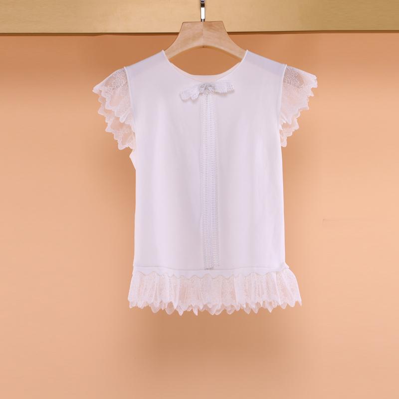 恩曼琳2019夏季圆领女装新品无袖蕾丝蝴蝶结气质针织衫L3263302