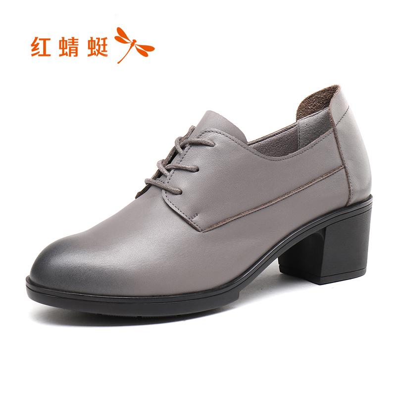 正品通勤真皮系带皮鞋粗高跟女单鞋子