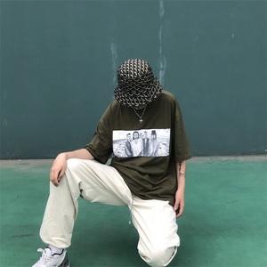 實拍 印花短袖女韓版潮流兩色日系街頭做舊圓領寬松t恤