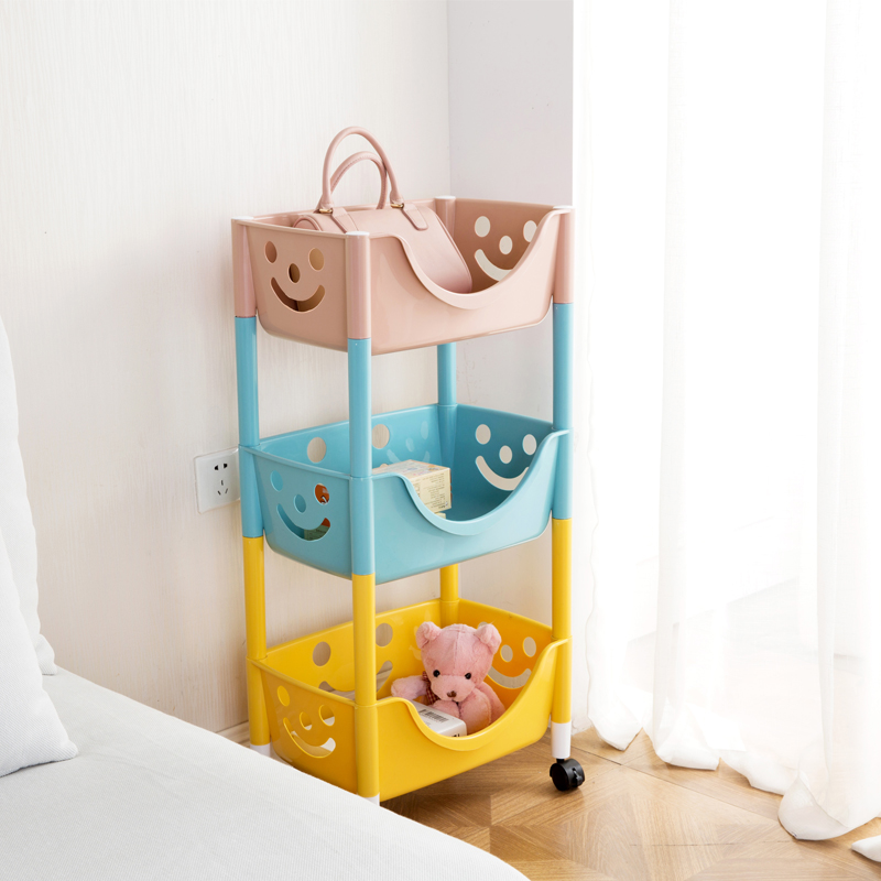 Removable pulley storage rack living room layered lockers shelves kitchen  bathroom plastic multi-layer floor shelf