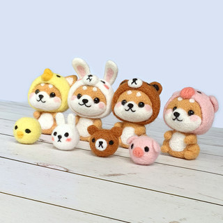 Wool felt poking Le pass time handmade diy felt material to send gifts gifts couple Shiba Inu