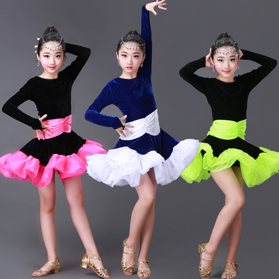 Children's Latin dance clothing children's dance practice clothing Latin dance competition performance clothing girl's dress