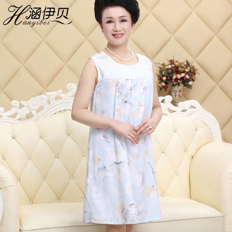 中老年女士人造棉睡衣绵绸大码睡裙家居服