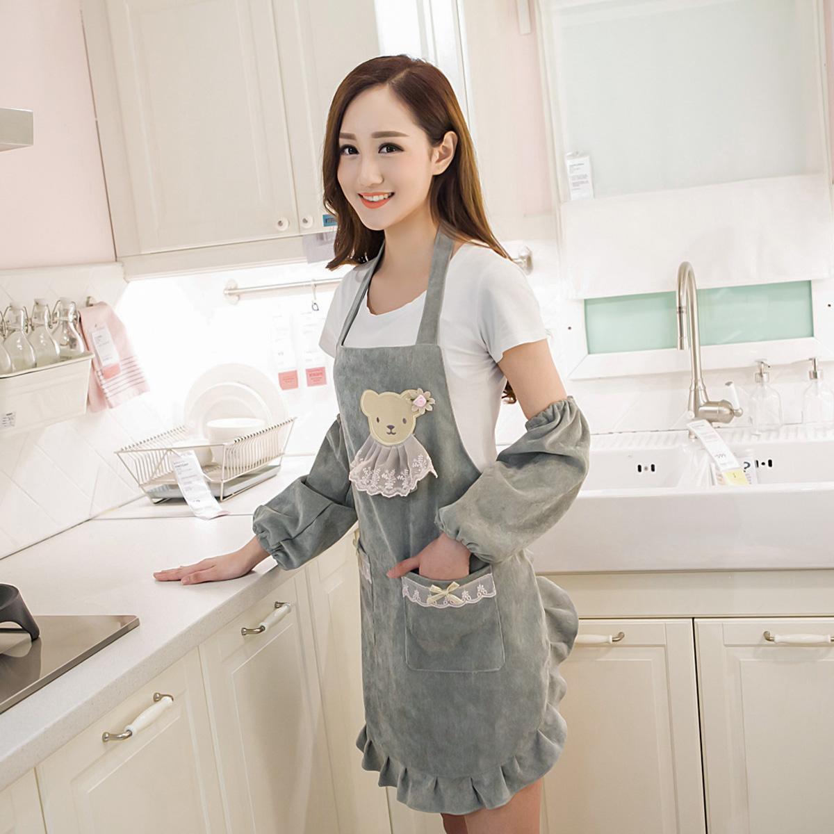 韩版荷叶边可爱公主印字定制LOGO美甲围裙工作服时尚纯棉母婴店红