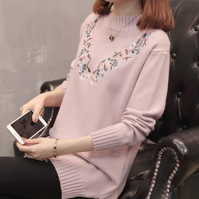 中长款套头纯色裙高领韩版半秋冬宽松绣花开叉毛衣毛线衣厚打底裙