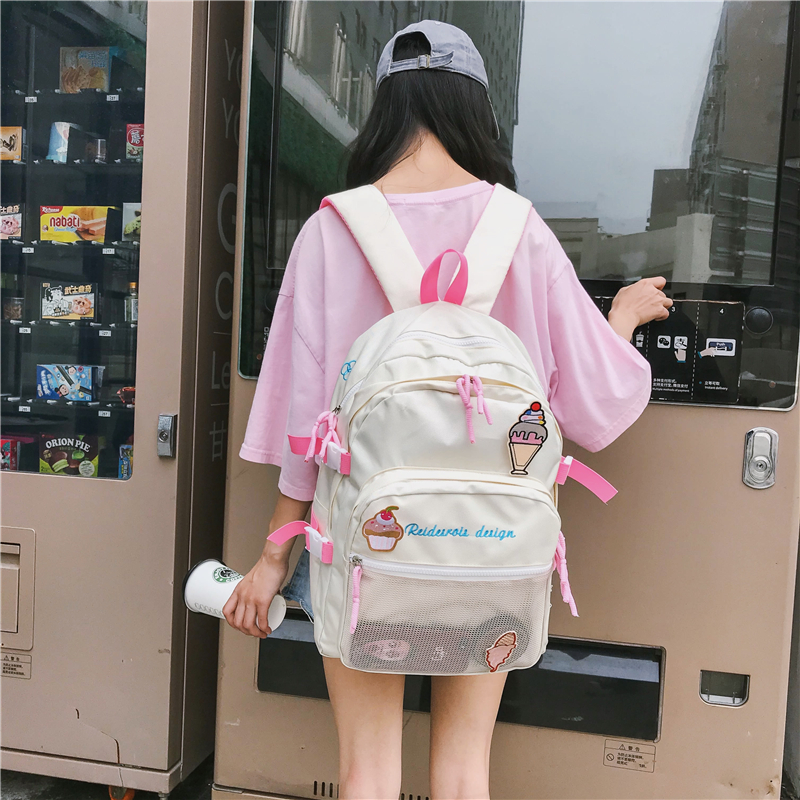 2019 new Korean version of ulzzang girl heart ice cream shoulder bag school  bag junior high 6b389882e8