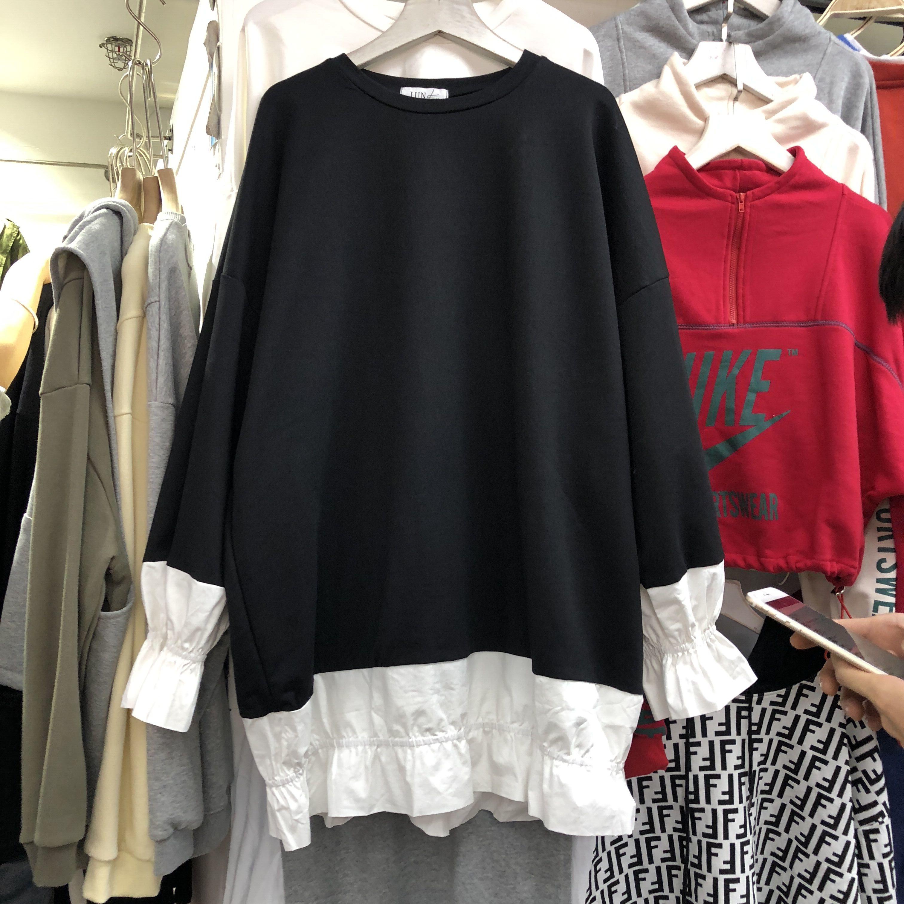 Сращивание рубашка юбка отпуск свитер женщина 2018 осень длина корейский свободный с длинными рукавами и круглым воротом платье 576440592239