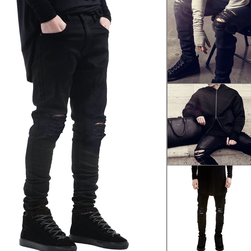 3b3057374c90 Spring and summer high street Kanye West knee hole jeans tide male stretch  Jeans boys slim feet pants