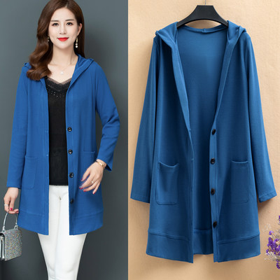 2020 spring and autumn new Korean version of loose large size women's hooded cardigan long sleeves long section knit jacket