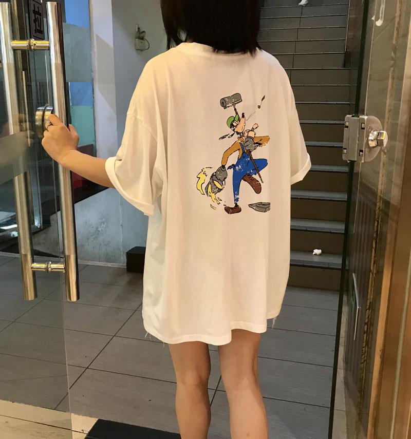 2019夏季短袖动漫字母港风BF宽松中长款上衣T恤女v短袖慵懒圆领982