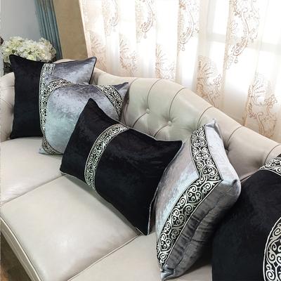 抱枕沙发靠垫欧式奢华黑灰花边靠枕