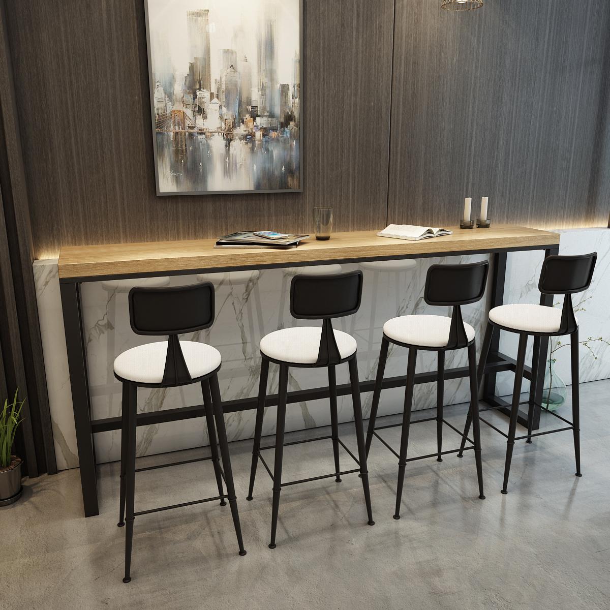 Скандинавская кованая железная древесина барный стол домашний журнальный столик Starbucks long полосатый Столовый ресторан высокая Стол, магазин чая, стол и стулья