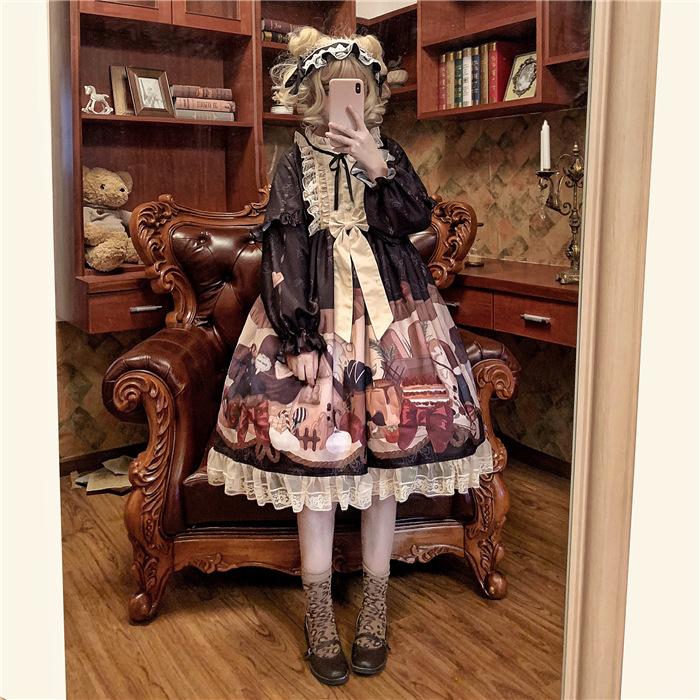 星空全套lolita裙樱茶洛丽塔冰块蕾丝jsk裙草莓闺蜜日系樱姬洋装