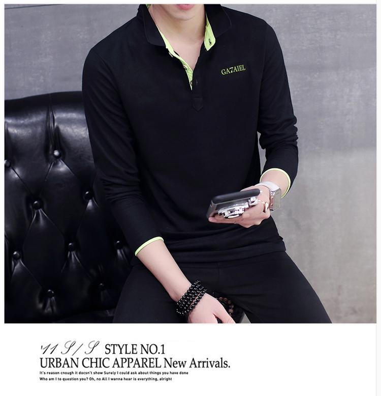 Mùa thu người đàn ông mới của dài tay leader T-Shirt cotton slim ve áo polo áo sơ mi kinh doanh bình thường cổ áo sơ mi áo thun 3 lỗ nam