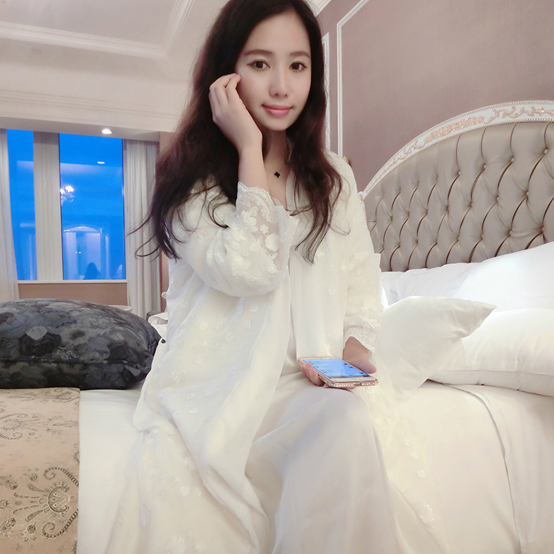 fe4e670291 Liu Wei nightgown female winter silk thick warm bathrobes sling embroidered  two-piece long-sleeved home ...