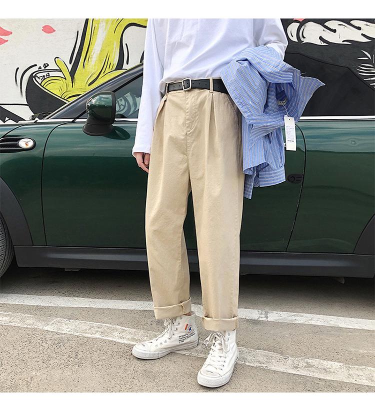 裤子男春季素色韩版潮牌休闲裤纯色直筒裤2020九分裤A357TP45