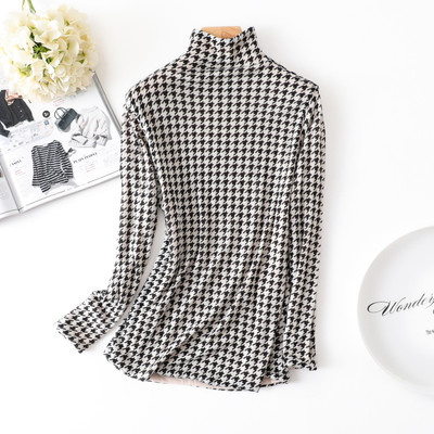 Women import Australia ultra-fine double pure wool bottoming shirt printing high-lead sweater sweater