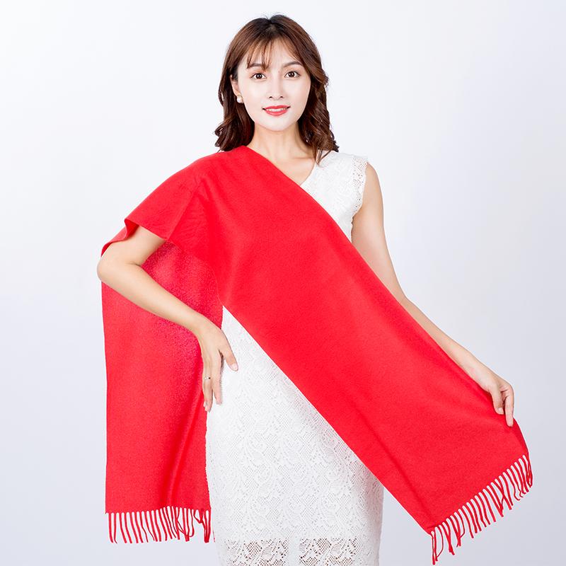 中国红年会围巾定制刺绣同学聚会活动开业庆典大红色围巾印字logo