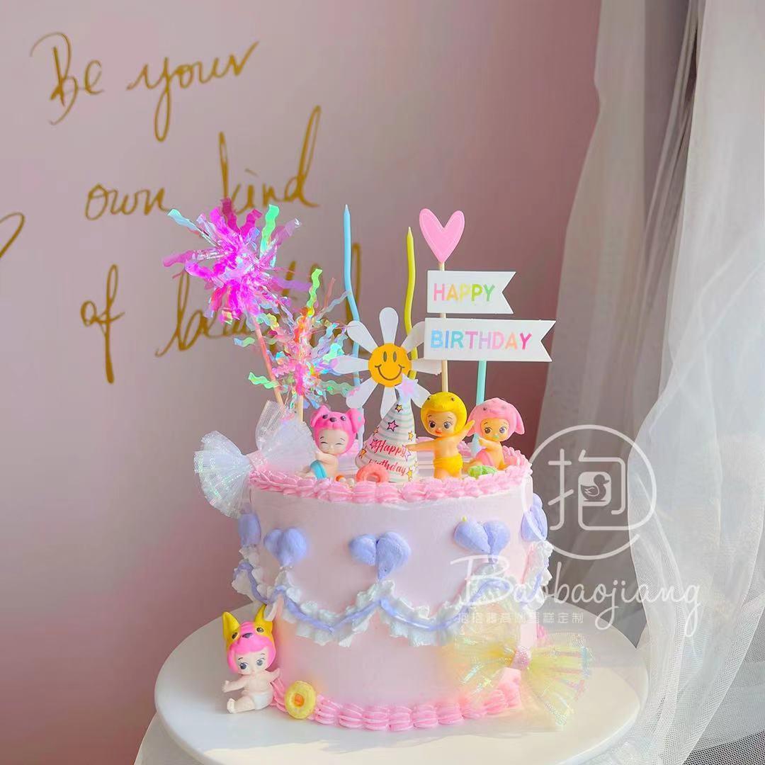 可爱丘比娃娃风復古韩式蛋糕装饰摆饰插件公主幻彩烘焙女孩详细照片