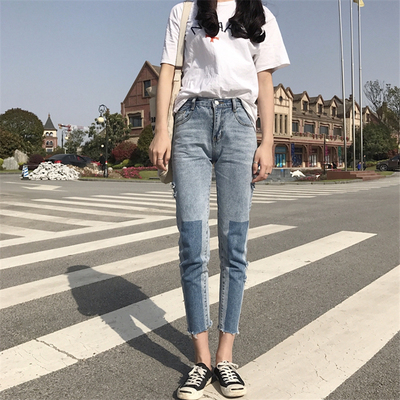 Small children's 150cm high plus small code Korean version of the fall 2017 hit loose loose nine-point jeans