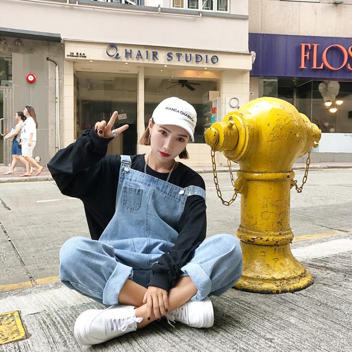 Джинсы женские 2017 корейский корейской версии женские брюки свободные широкие брюки нагрудник девять минут брюки джинсы вышитые студентов