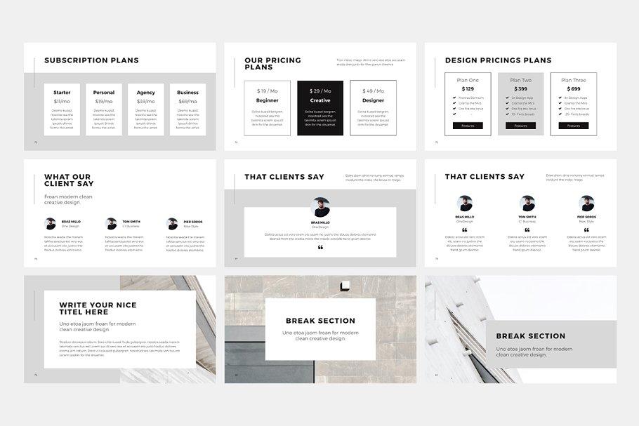 产品PPT模版 NORS Powerpoint Template + Big Bonus设计素材模板