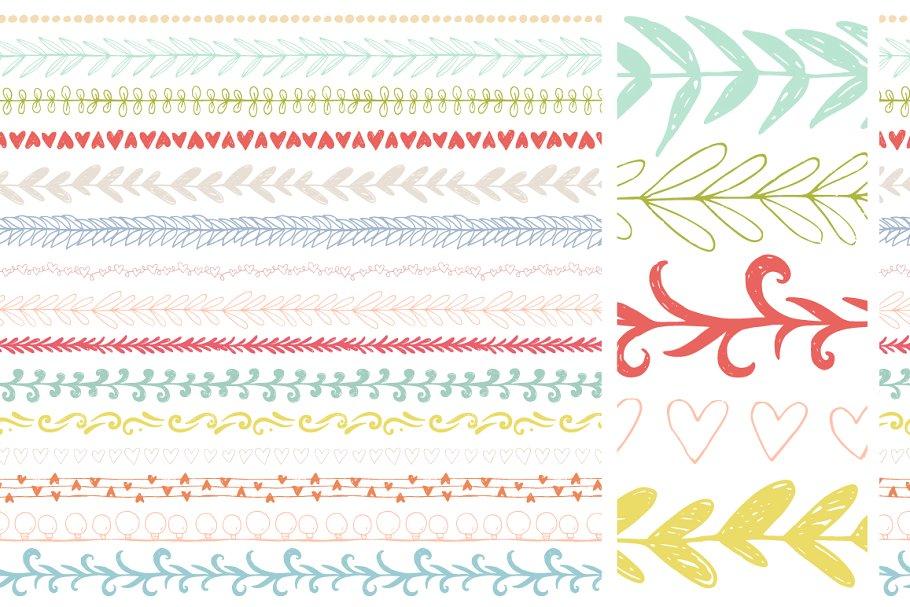 30个手绘矢量图案笔刷下载 30 Handdrawn Vector Pattern Brushes设计素材模板