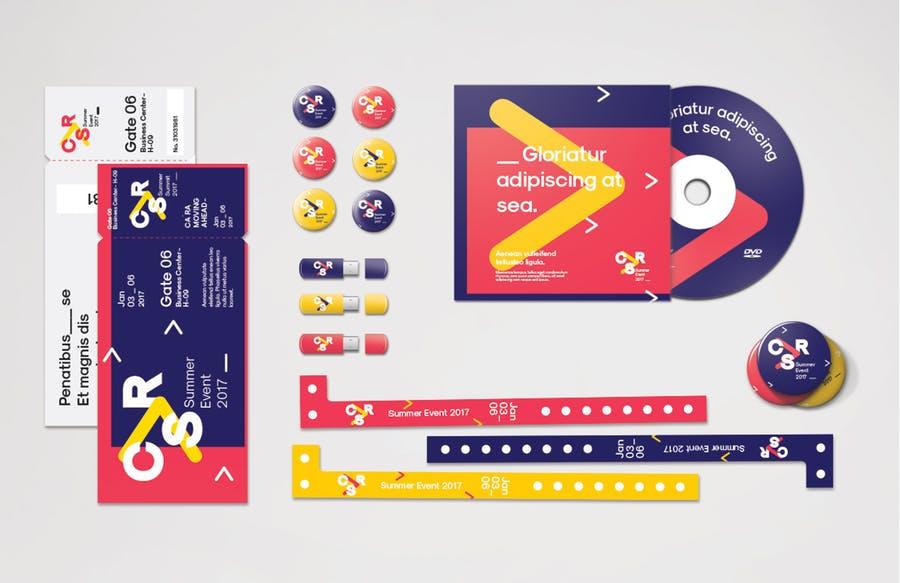 概念时尚活动品牌矢量插图VI文件34个物品