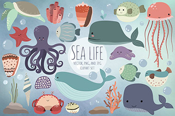 可爱的海洋卡通生物元素 Cute Sea Life Design Elements