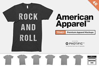 美国T恤纹样设计样机 American Apparel TR401 Mockups